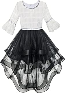 Girls Dress White and Black Hi-lo Party Dancing Pageant Size 6-14