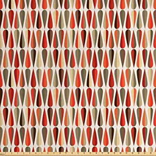 Ambesonne Retro Fabric by The Yard, Sixties and Seventies Style Geometric Round Shaped Design with Warm Colors Print, Decorative Fabric for Upholstery and Home Accents, 1 Yard, Orange Cream