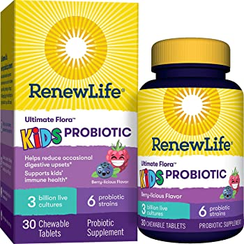 Renew Life Kids Probiotics 3 Billion CFU Guaranteed, 6 Strains, Shelf Stable, Gluten Dairy & Soy Free, 30 Chewable Tablets, Ultimate Flora Kids Probiotics Berry-licious (Packaging May Vary)