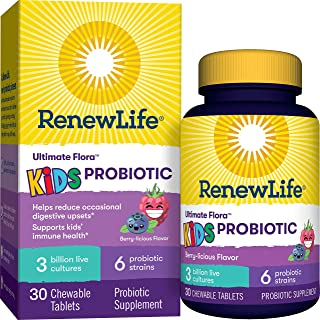 Renew Life Kids Probiotics 3 Billion CFU Guaranteed, 6 Strains, Shelf Stable, Gluten Dairy & Soy Free, 30 Chewable Tablets...