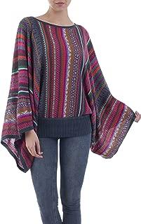 Multicolor Alpaca Wool Blend Striped Sweater, Fiesta of Color'