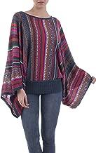 NOVICA Black Alpaca Blend Sweater Black Burgundy Dance