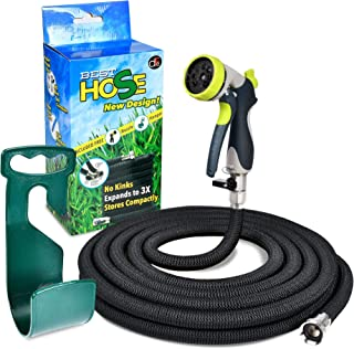 DFE Essentials Heavy Duty Expandable Garden Hose – 50 Feet - Flexible Triple Layer Latex Tubing - Rust Resistant, Nickel-Plated Solid Brass Connector and Fitting - Nozzle Sprayer and Wall Hanger