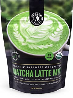 Jade Leaf - Organic Japanese Matcha Latte Mix - Cafe Style Sweetened Blend - Sweet Matcha Green Tea Powder [150g pouch]