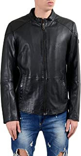 Orange Jermon Men's 100% Leather Black Full Zip Jacket US M IT 50