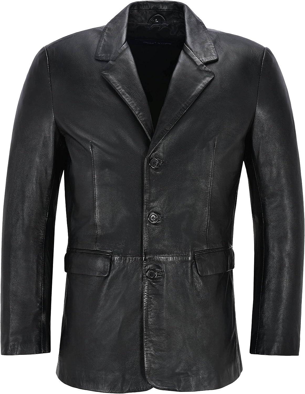 Men's Leather Blazer Black Classic Italian Tailored Soft Lambskin Leather Slim Jim