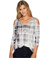 Tribal - 3/4 Sleeve Tie-Dye Jersey Cold Shoulder Top