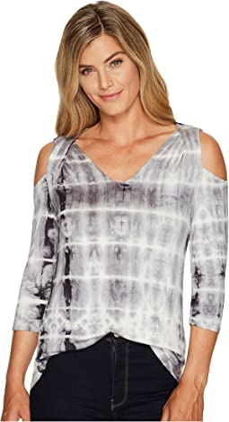 Tribal - 3/4 Sleeve Tie-Dye Jersey Cold Shoulder Top
