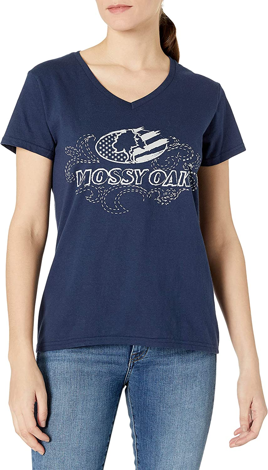 Mossy Oak Women's Short Latest Low price item Sleeve Front Graphic Tee V-Neck