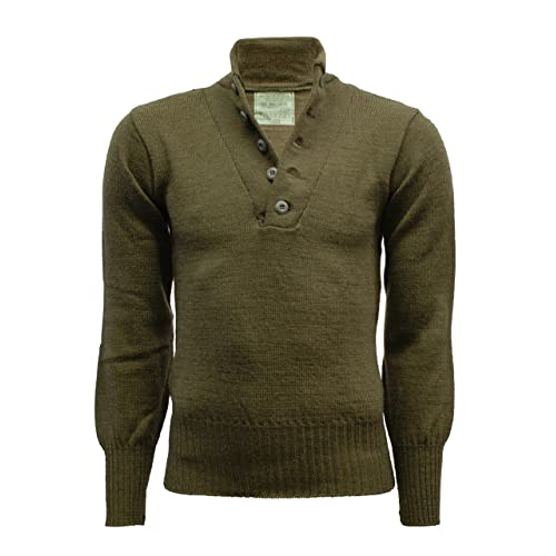 7c5fba106d97 Genuine Original USA Military 100% Wool 5-Buttons Sweater Pullover OD Olive