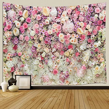 Amazon Com Jawo Floral Wall Tapestry For Girls Colorful Pink Yellow Rose Flower Tapestry Wall Hanging For Bedroom Romantic Spring Aesthetic Tapestry Beach Blanket College Dorm Home Decor 71 W X 60 H