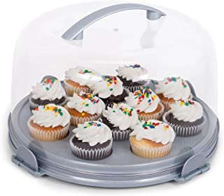 Internet's Best Cupcake Cake Carrier Pie with Handle   12 cup Server   Interchangeable Base   Locking Lid   Transparent Display Cover
