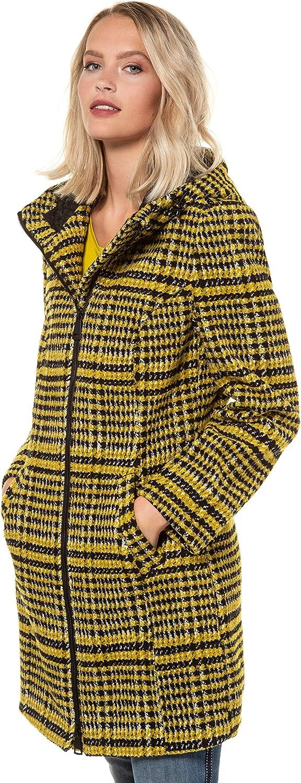 GINA LAURA Damen Karomantel, Kapuze, leichte, warme Qualität 724793 Gelb (Senfgelb 72479362)