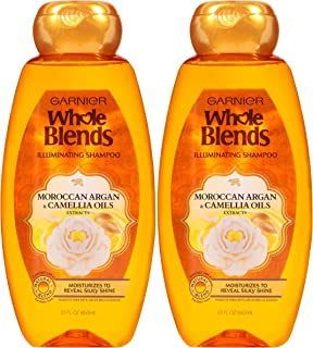 Garnier Whole Blends Illuminating Shampoo with Moroccan Argan and Camellia Oils Extracts, 22 fl. oz. (Packaging May Vary), 2 Count