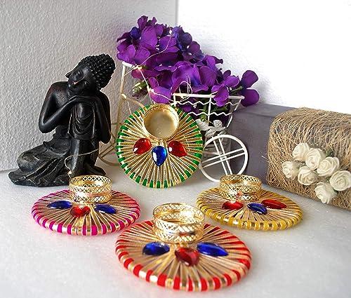 Taproot Essentials Set Of 2 Diwali Diya Reusable Handmade Colourful Diyas Decoration Items