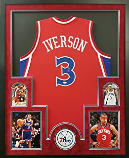 Allen Iverson Philadelphia 76ers Autograph Signed Custom Framed Jersey Red Suede Matted JSA Witnessed Certified
