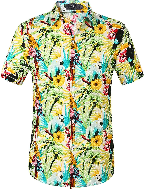 Regular discount SSLR Mens Short Sleeve Button Me for Hawaiian Down Latest item Shirts