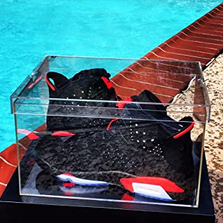 SneakerC Luxury Sneaker Display Box - 100% Clear - 100% See Through - Acrylic Display Shoe Box - 360° Angle View (Size Large, Fit up to Size 15)