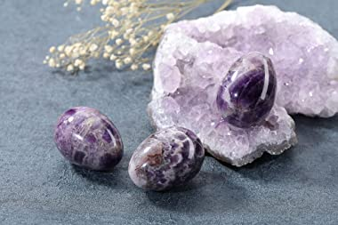 Top Plaza Healing Crystals Amethyst Stone Decors Carved Polished Natural Gemstone Egg Statue Figurines with Acrylic Stand Hom