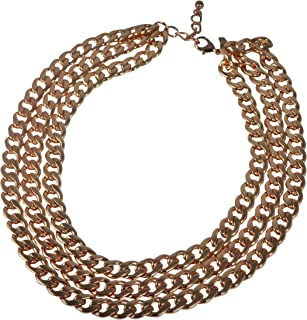Kenneth Jay Lane-3 Strand Chain Link Rose Gold Plate Necklace-Also Silver & Gold