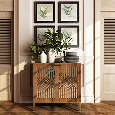 COZAYH Full-Assembled 2 Door Accent Cabinet Modern Mirror Fronts Clean-Lined Silhouette, Natural