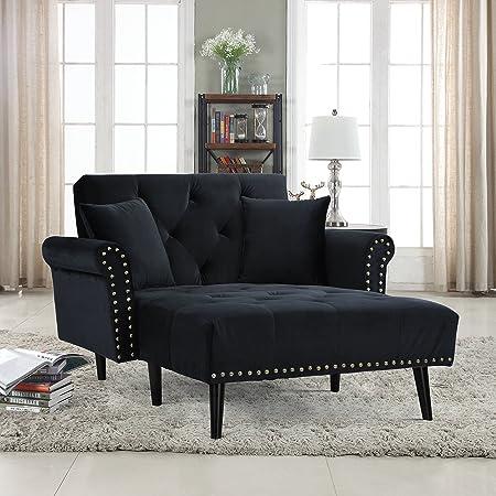 Divano Roma Furniture Middle Century Modern Velvet Fabric Living Room Chaise Lounge Grey
