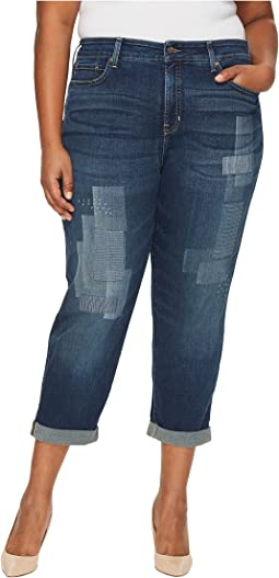 Plus Size Boyfriend Jeans with Laser Shadow Patch and Embroidery in Horizon