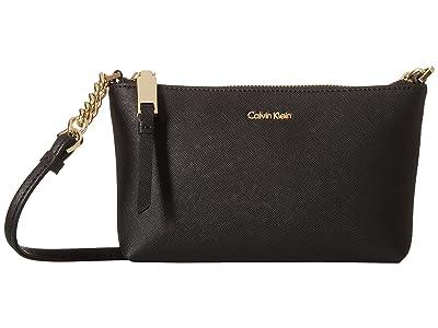 Calvin Klein Hayden Saffiano Key Item Crossbody (Black/Gold) Cross Body Handbags