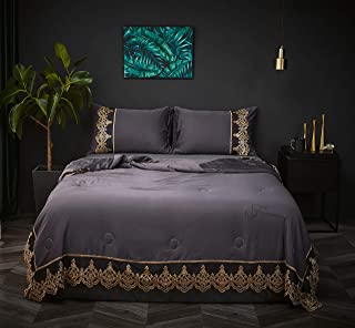 "Softta Luxury Fashion French Style 3Pcs Summer Quilt Queen Size Thin Quilt/Comforter Soft Lightweight Tencel Fabric Washable Matching lace Craft Weighs 4.4 pounds(86""x 94"") Fashion Gray."