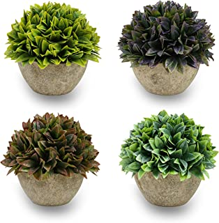 Aonewoe Artificial Plants 4 Pack Plastic Topiary Shrubs Fake Greenery Grass Potted Plants for Kitchen Home Decoration