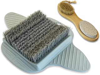 Foot Scrubber for Shower with BONUS Wooden Hand Tool with Pumice Stone, Brush, Emery Board, and Metal File [ 4 Color Choices ]