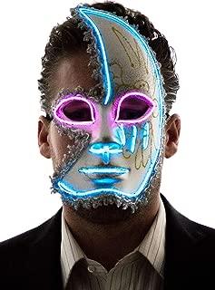 Neon Nightlife Men and Women's Light Up Half Face Mask | Masquerade Phantom Mask | Mardi Gras Costume