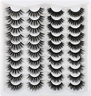 Yawamica Lashes Pack Fluffy False Eyelashes 20mm Mink Eyelashes 20 Pairs Thick False Eyelashes Long Wispy Crossed Soft Reu...