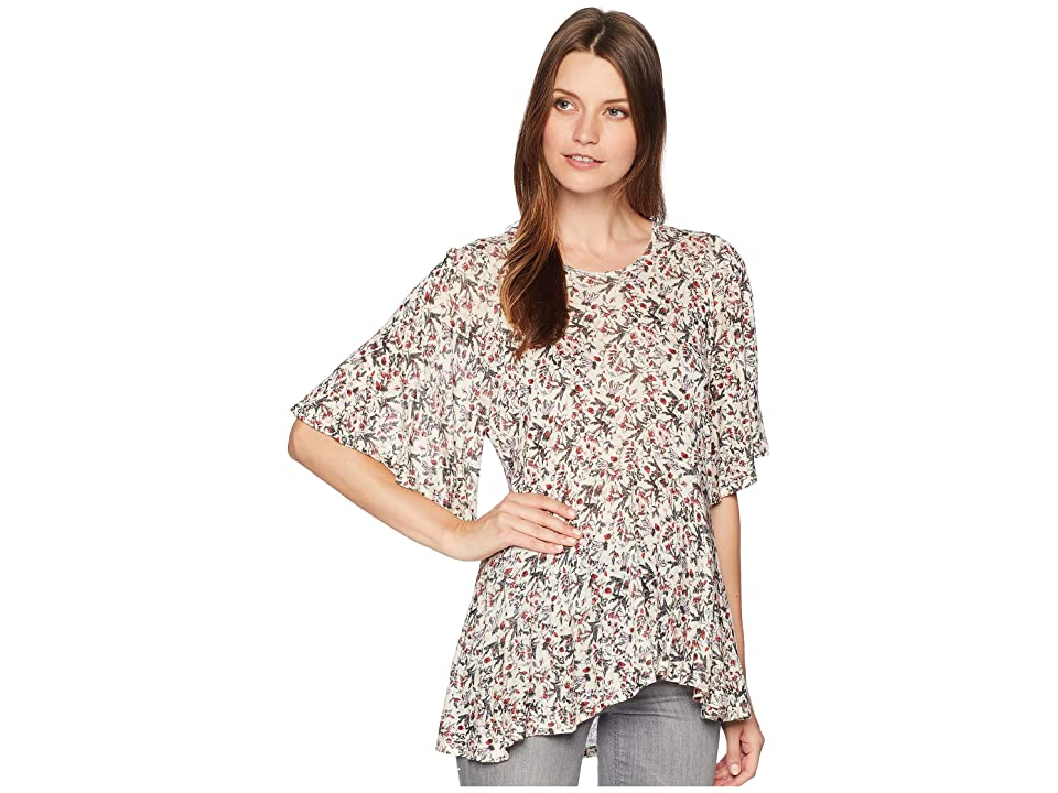 Lucky Brand Printed Flutter Sleeve Top (Multi) Women's Long Sleeve Pullover