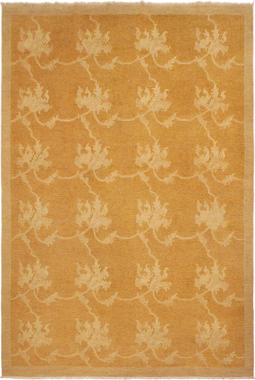 Arshs Fine Rugs Peshawar Modern Retta 100% quality warranty 9'0 - Wool Max 64% OFF Orange Rug Gold