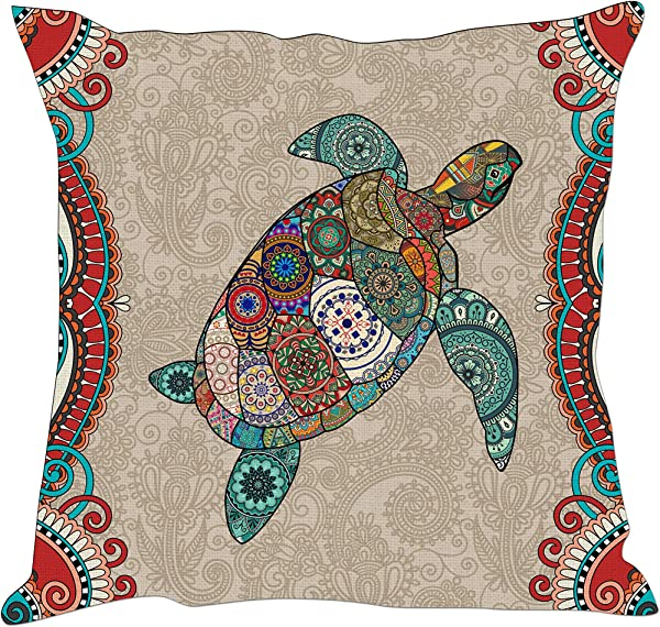 Tom Boy Boho Turtle Throw Pillow Covers Decorative Ocean Sea Animal Linen Square Cushion Pillow Cases For Couch Sofa 18 X18