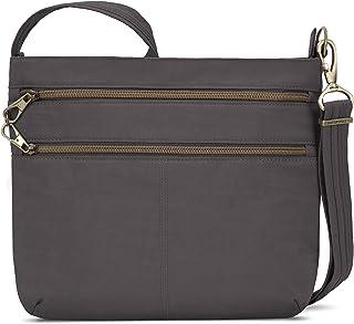 Travelon Anti-theft Signature Double Zip Cross Body Bag, Smoke