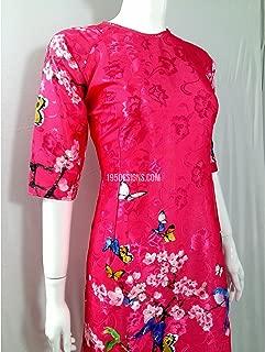 195designs Áo Dài Cách Tân Gấm Hồng HOA Đào   Hot Pink Ao Dai Cherry Blossom Modern New Year