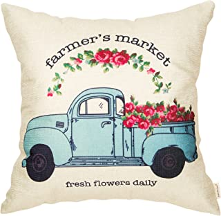 Fahrendom Farmer's Market Fresh Flowers Daily Vintage Truck Watercolor Farmhouse Decor Spring Summer Decoration Cotton Linen Home Decorative Throw Pillow Case Cushion Cover for Sofa Couch 18 x 18 in