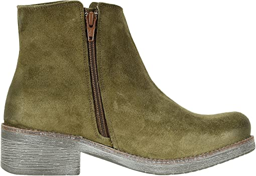 Brushed Oily Olive Suede