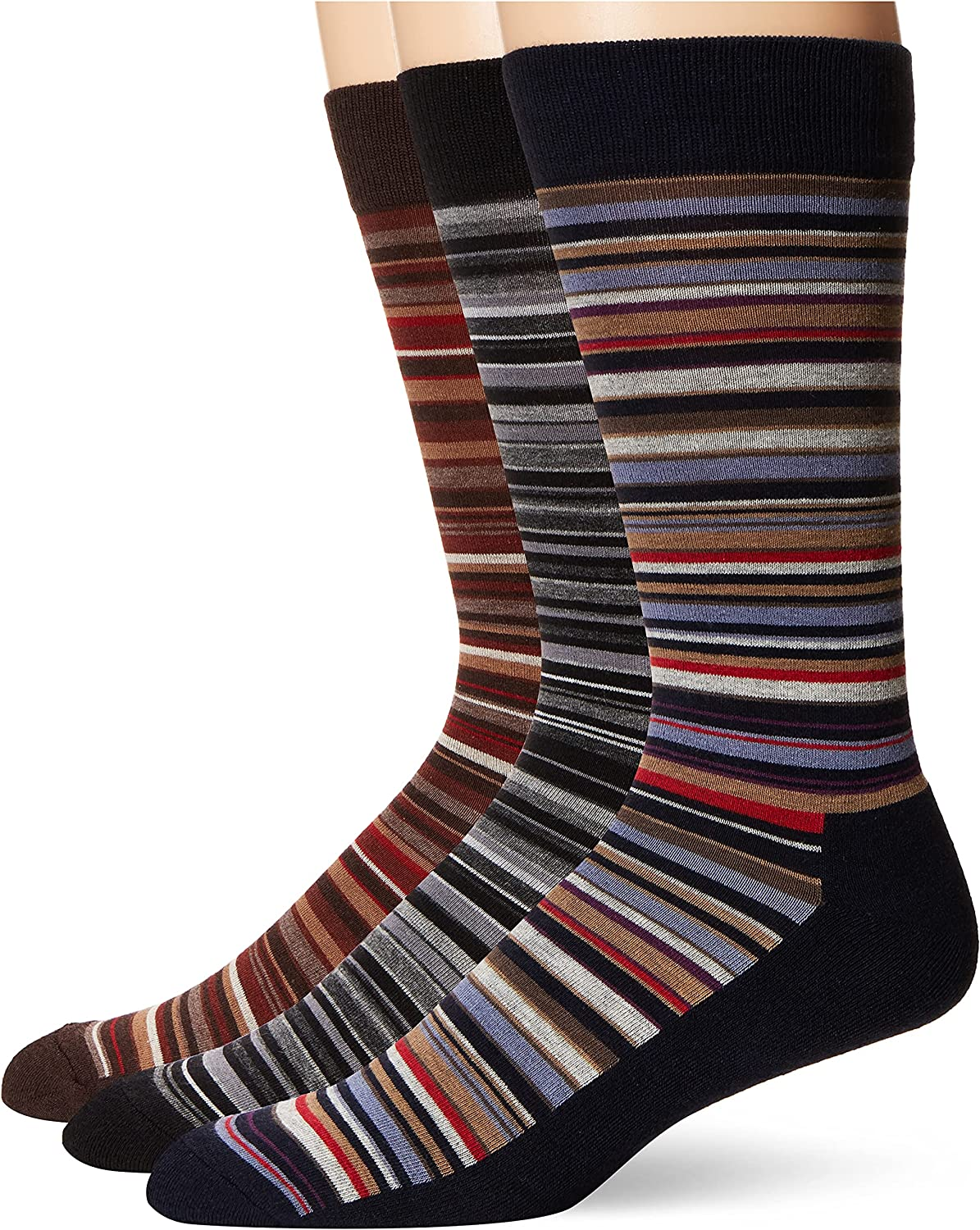 Hue Men's Assorted Crew Socks with Cushion, 3 Pair Pack