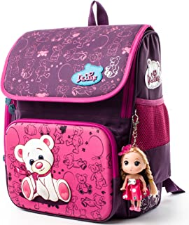 School Backpack for Girls Kids School Bag with Lovely Doll - Cute/Lightweight/Waterproof (2-010)