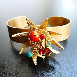 Cátia Levy Designer Sommer Armreif Gold Vergoldetem Matt, Blume, Blätter und Mehrfarbige