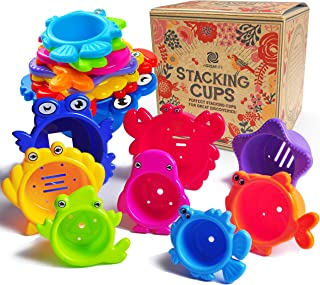 aGreatLife Stacking Cups Bath Toys for Toddlers - Safe and Fun Kids Bath Toys with Bright Multi Colored Cups That Enhances...