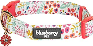 Blueberry Pet 6 Patterns Spring Scent Garden Floral Collars for Dogs, Matching Shopping Bag for Pet Lovers