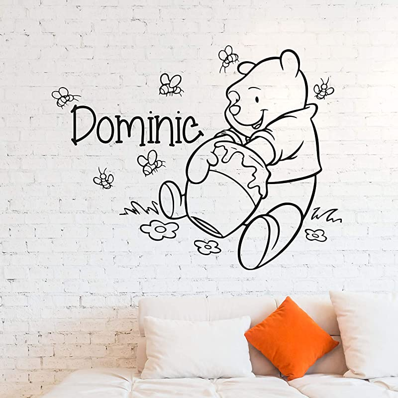 Wall Decals Winnie The Pooh Custom Name Wall Decal Personalized Sticker Art Disney Decorations For Home Teen Kids Boys Room Bedroom Nursery Decor Made In USA