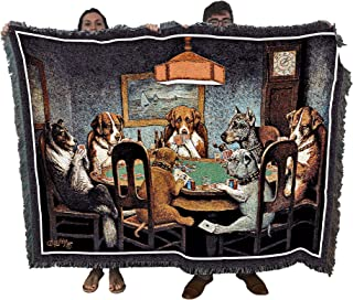 Pure Country Weavers | Dogs Playing Poker Woven Tapestry Throw Blanket with Fringe Cotton USA 72x54