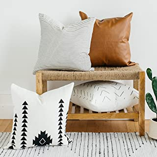 Woven Nook Decorative Throw Pillow Covers Pack of 4 for Couch, Sofa, or Bed Set 100% Cotton Stripes Geometric Faux Leather Amaro Set (22'' x 22'')
