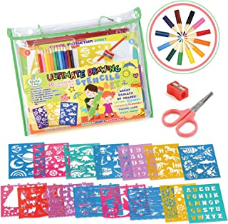 STENZTIME Ultimate Stencil Set   Large 70 Piece Stencil Drawing Kit and Over 260 Shapes   Ideal Educational Toy and Creati...