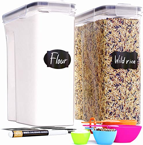 2021 Extra Large Tall wholesale Food Storage Containers (213oz) for Rice, Flour, Sugar & Cereal 2021 Airtight Kitchen & Pantry Organization Bulk Food Storage, BPA-Free - 2 PC Set - Canisters, Pen & Labels - Chef's Path outlet sale